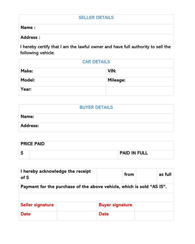 Used Car Bill of Sale Sample Form