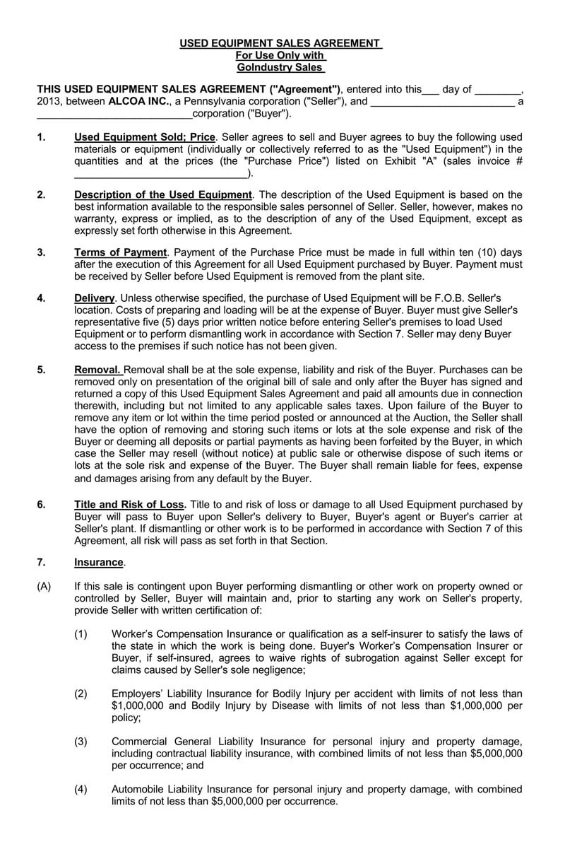 Used Equipment Bill of Sale Agreement Form