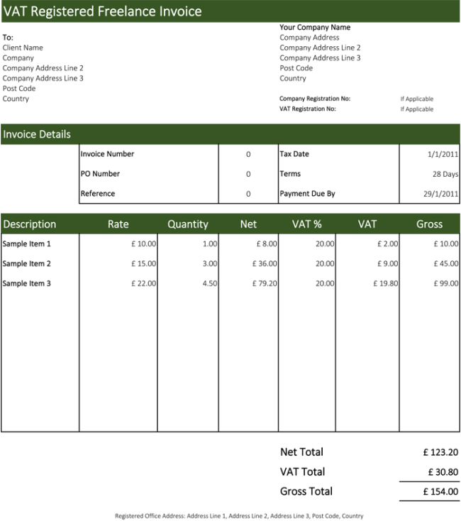 VAT Registered Freelance Invoice Template  Sample Freelance Invoice