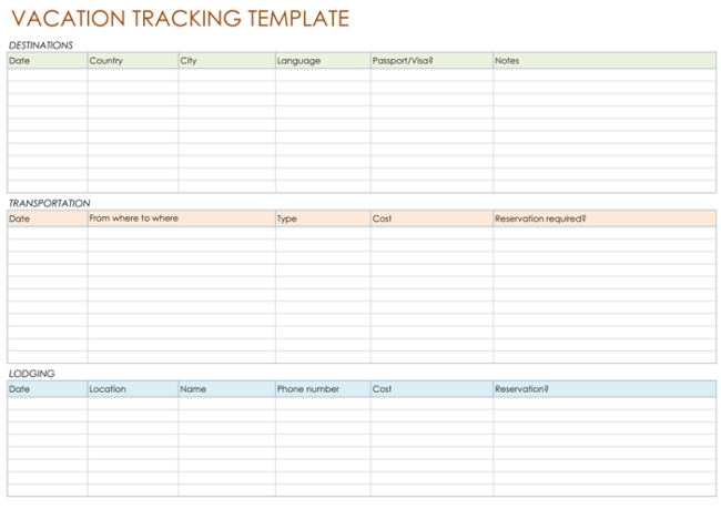 Vacation Tracking Template,
