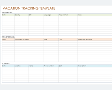 Vacation Tracking Template