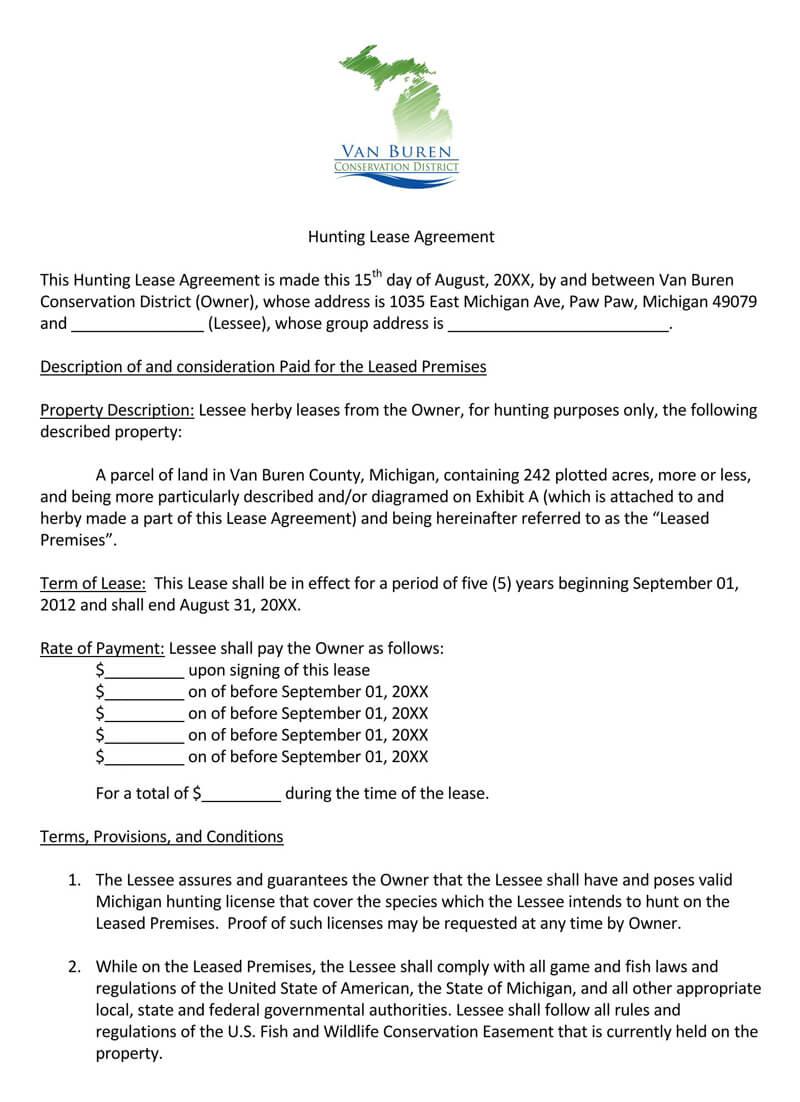 Van Buren Hunting Lease Agreement