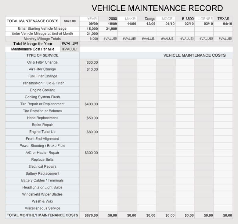 free vehicle maintenance log    service sheet templates