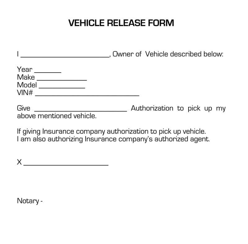 Vehicle Release Form Sample