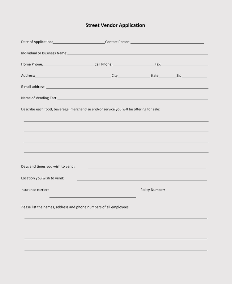 9  printable blank vendor registration form templates  for