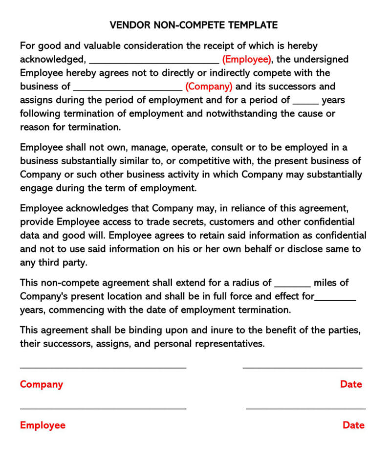 Vendor Non-Compete Agreement Template