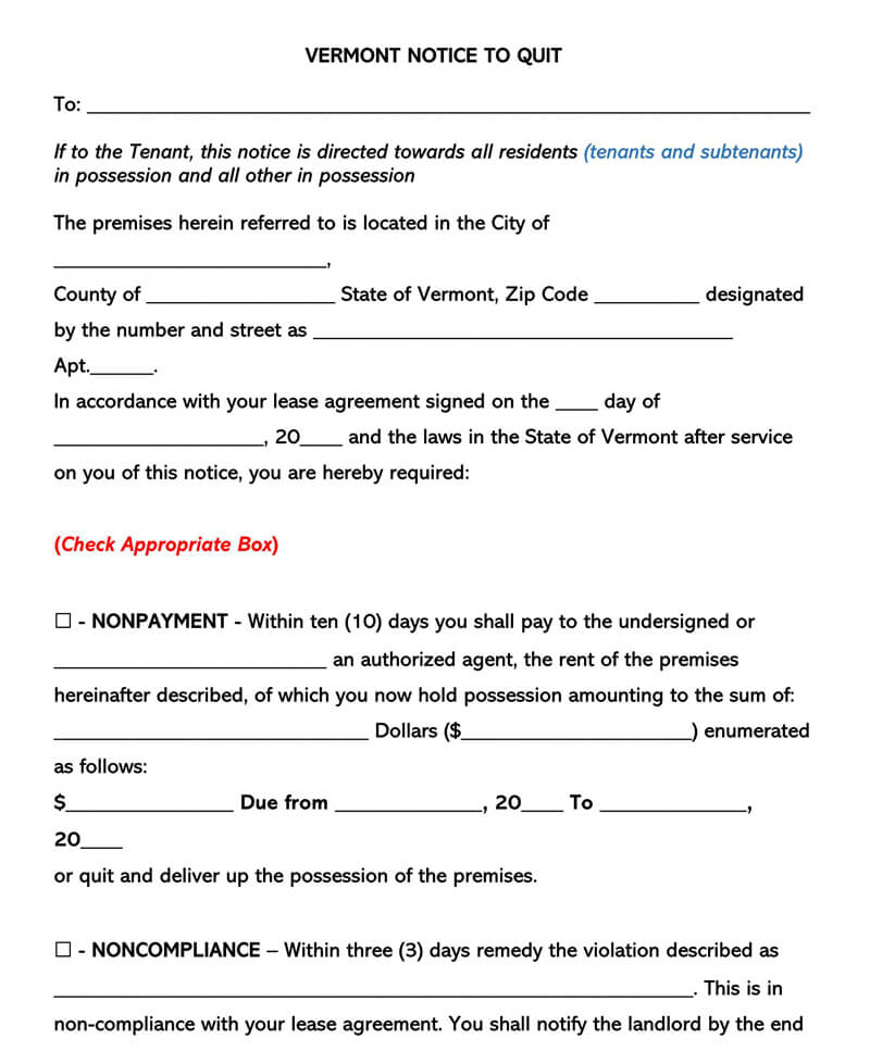 Vermont Eviction Notice Form