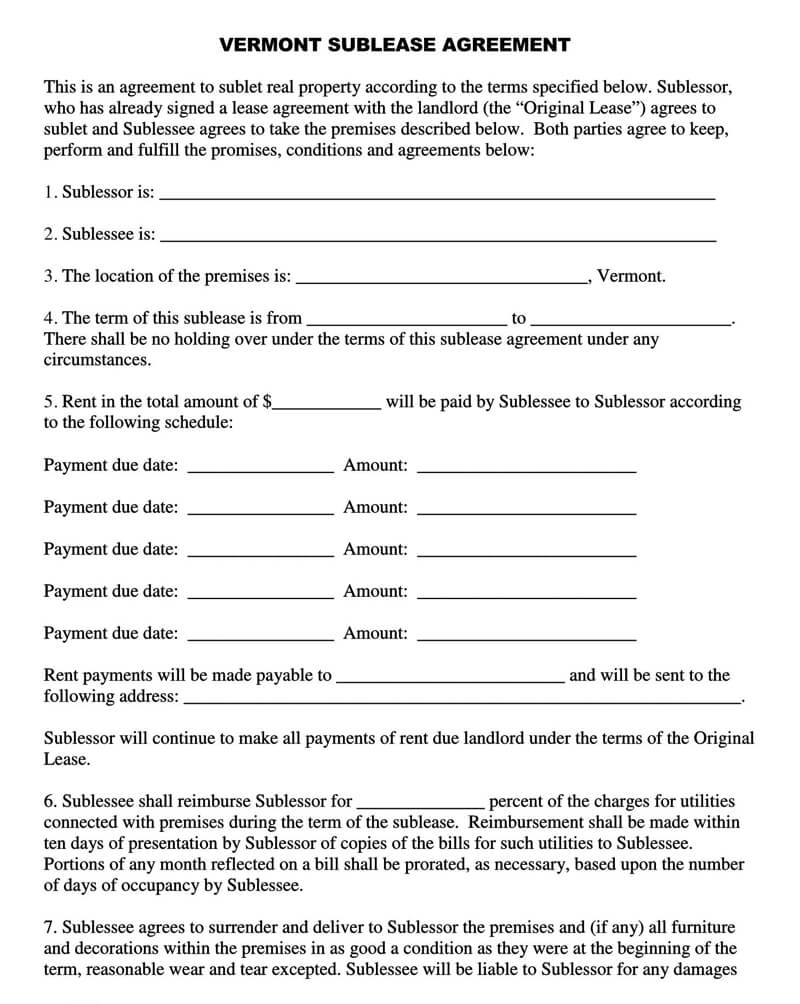 Vermont SubLease Agreement Template