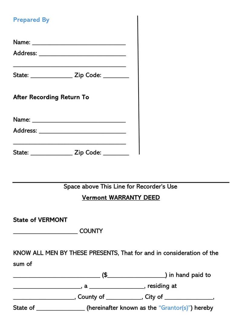 Vermont Warranty Deed Form