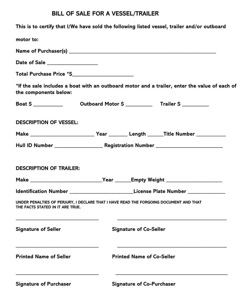 Trailer Bill Of Sale Form Free Forms Templates