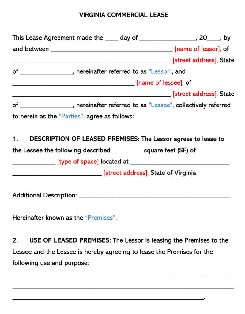 Virginia Commercial Rental Lease Agreement