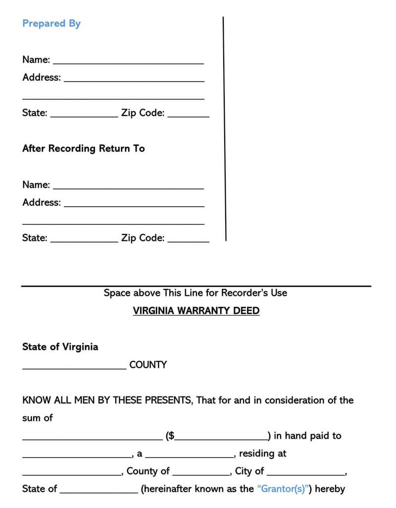 Virginia Warranty Deed Form