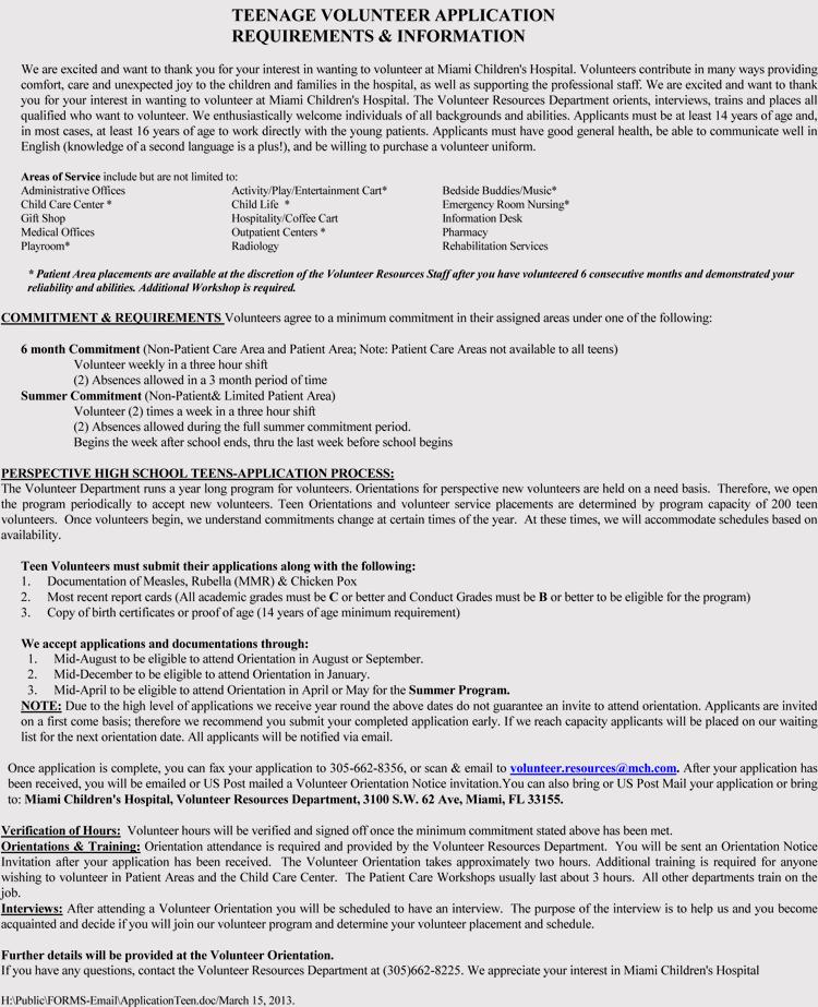Volunteer Application Forms