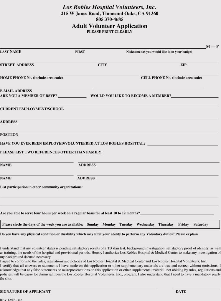 Volunteer Application Form Pdf