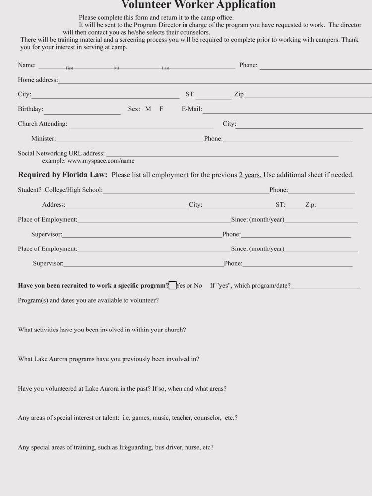 Volunteer Application Form Doc