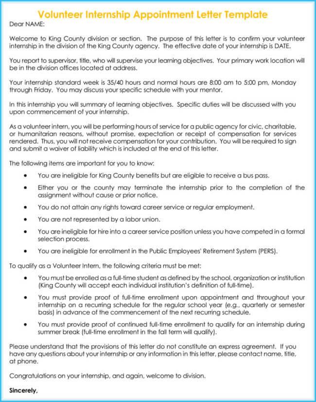Volunteer Internship Appointment Letter Template