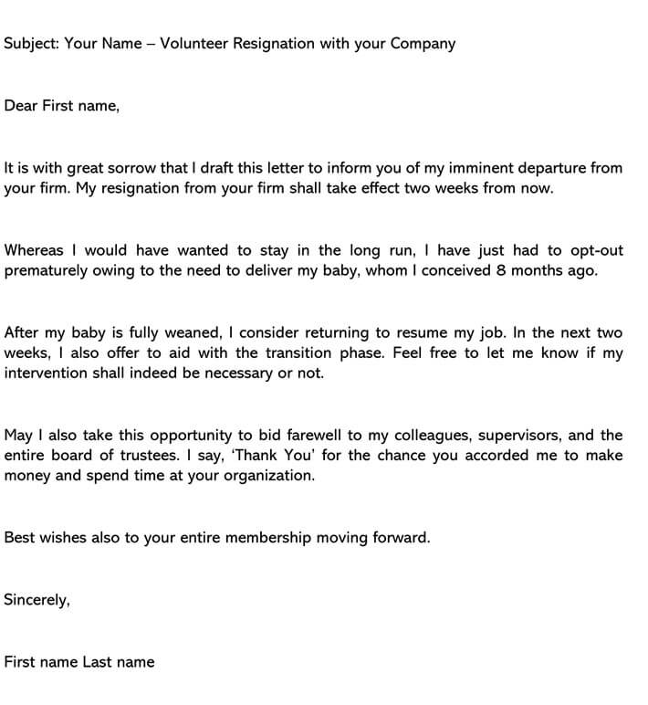 Volunteer Resignation Letter email example