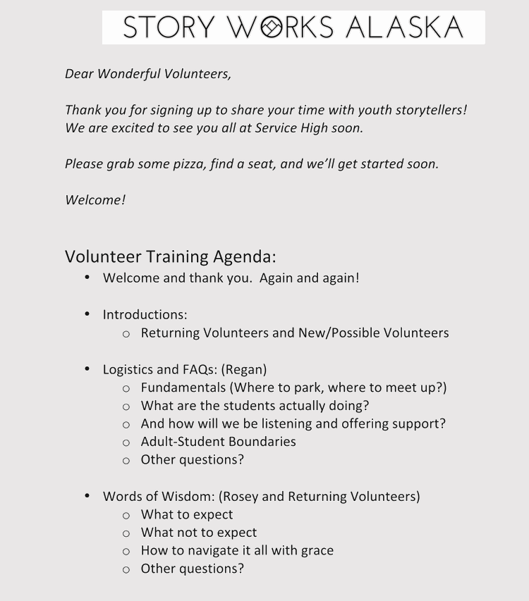agenda for training