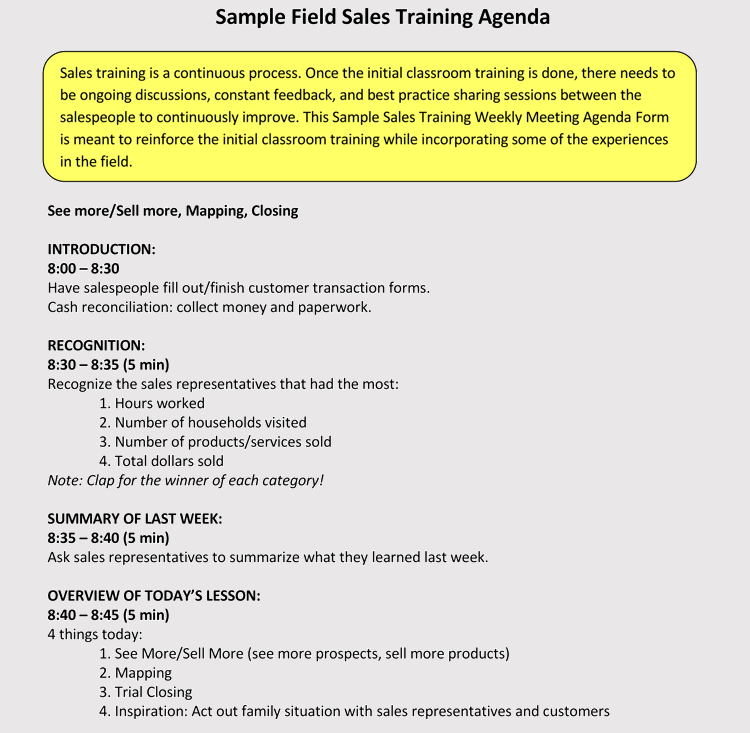 How To Format A Training Agenda With 12 Examples Samples