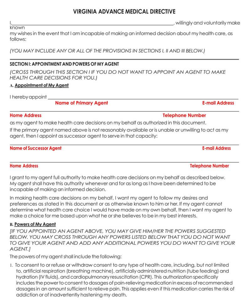 Vrginia Medical POA Form