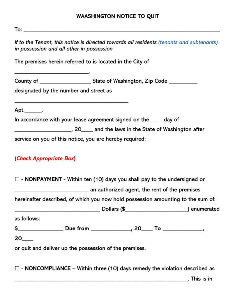 Washington Eviction Notice Form