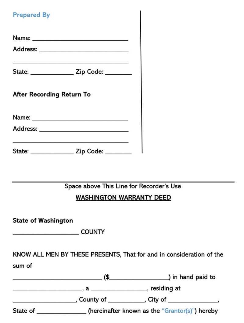 Washington Warranty Deed Form