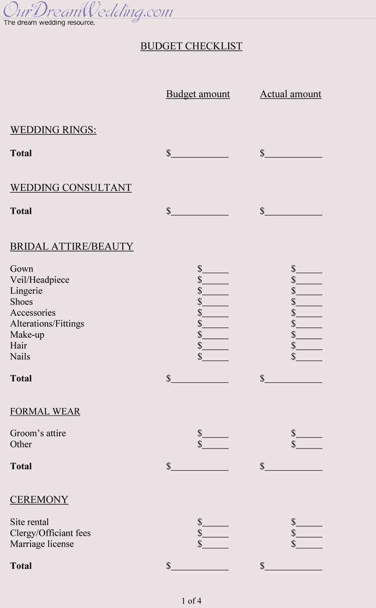Wedding Budget Checklist Template
