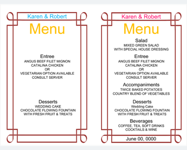 Menu Templates - Templates for Microsoft® Word