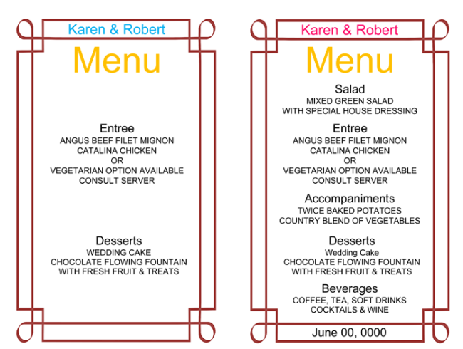 Wedding Menu Card Template: