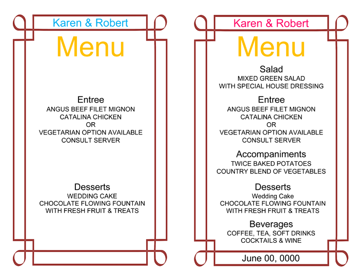 Wedding menu template 5 free printable menu cards for Free printable menu templates