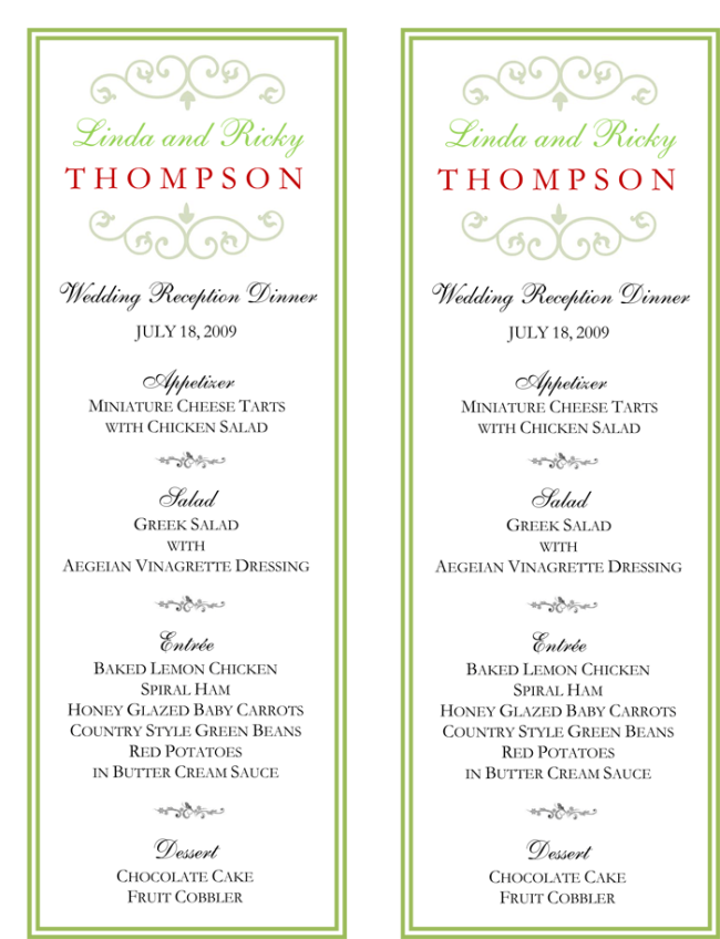 Wedding menu template 5 free printable menu cards for Wedding menu cards templates for free