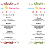 Wedding Menu Template for Word