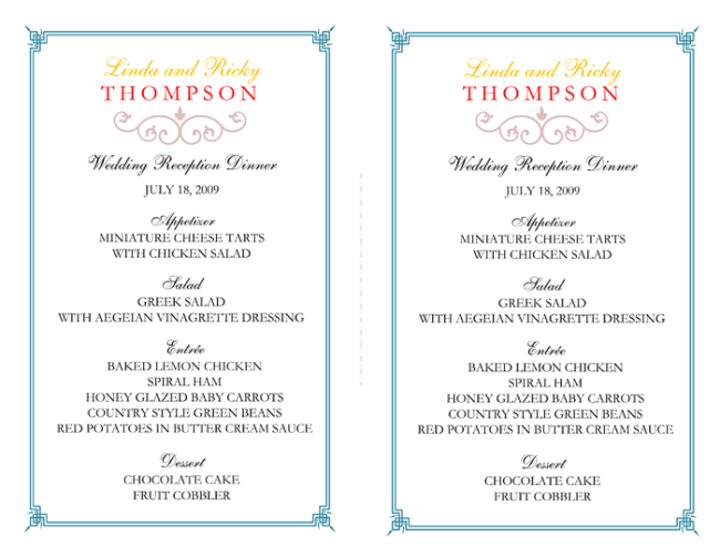 Wedding Reception Menu Template