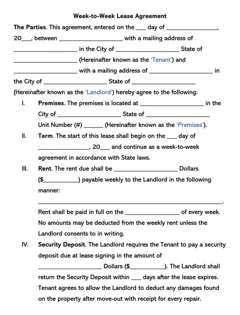 Week-to-Week Lease Agreement Form