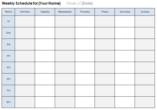 monday through sunday schedule template koni polycode co