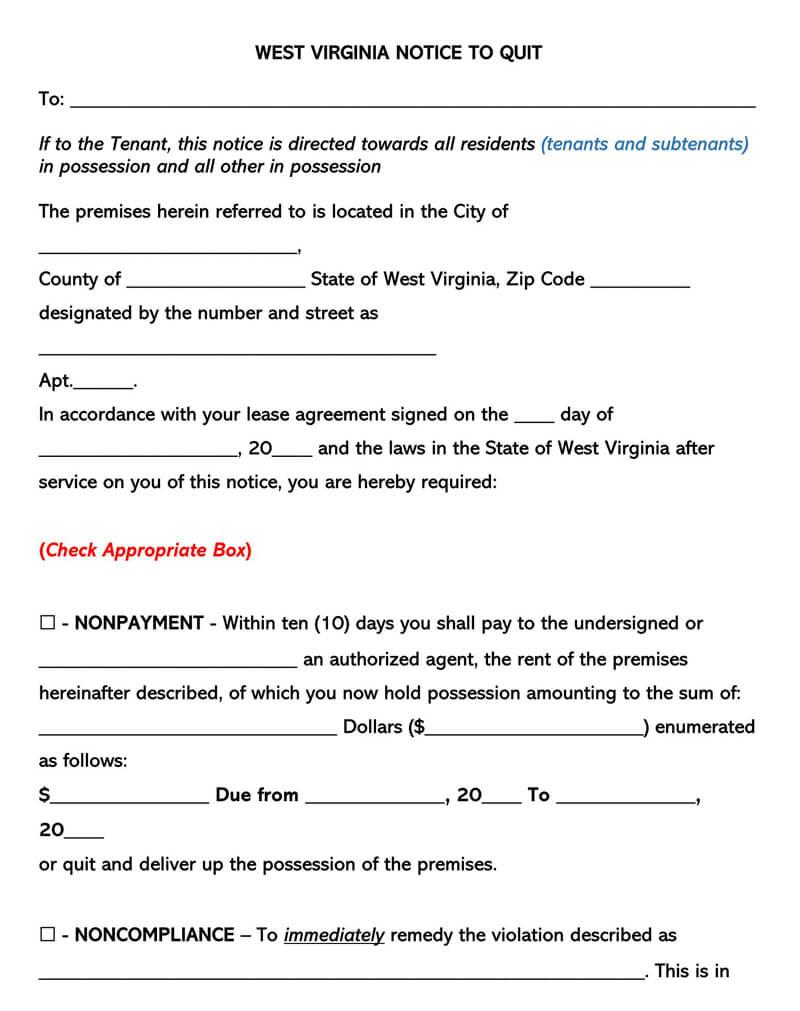 West Virginia Eviction Notice Form