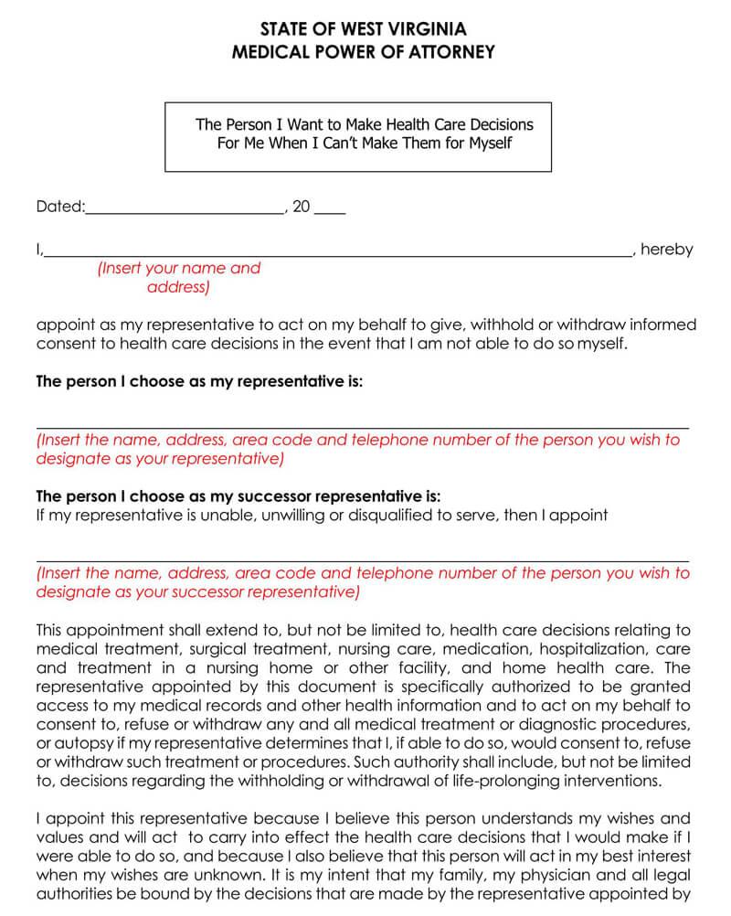 West Virginia Medical POA Form