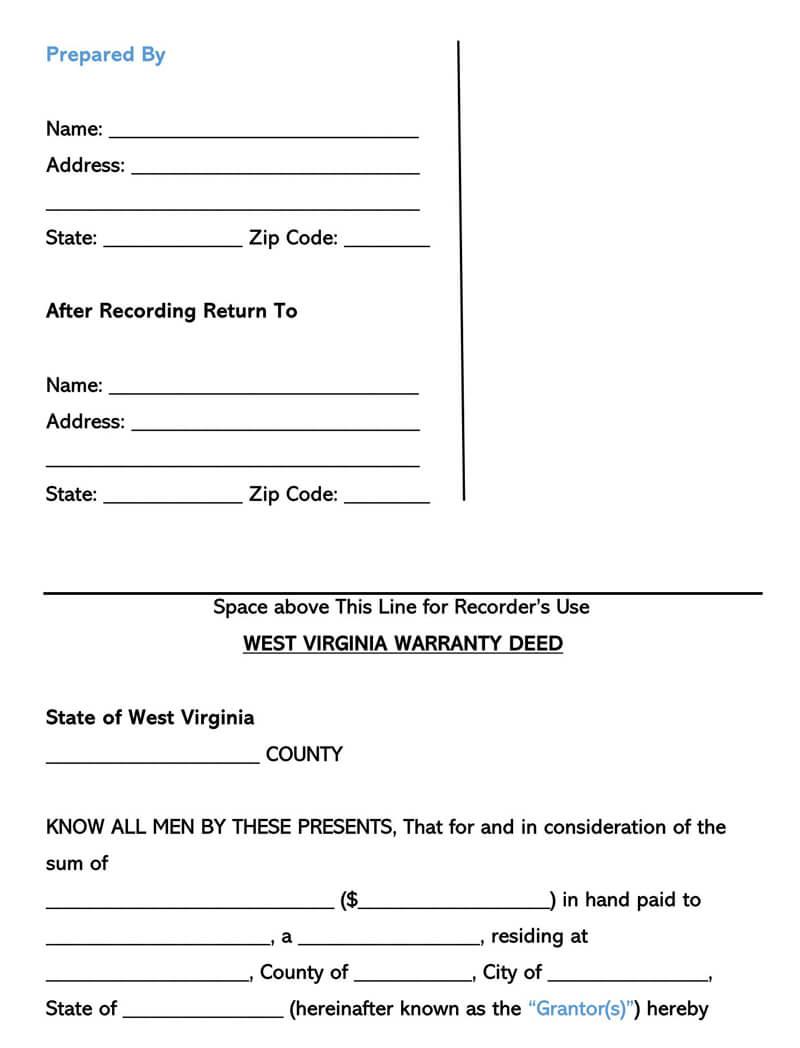 West Virginia Warranty Deed Form