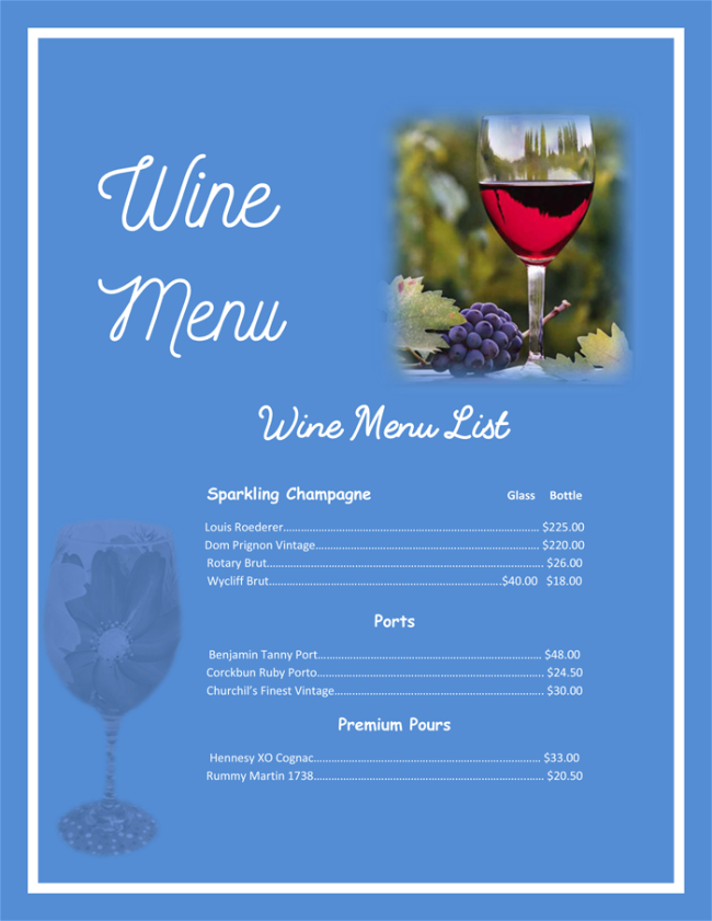 Drink menu template 5 best drink menu formats for Wine dinner menu template