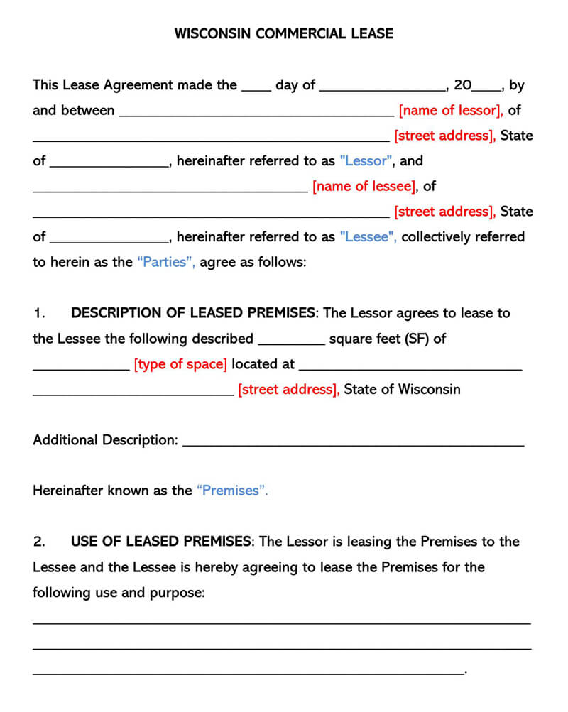 Wisconsin Commercial Rental Lease Agreement