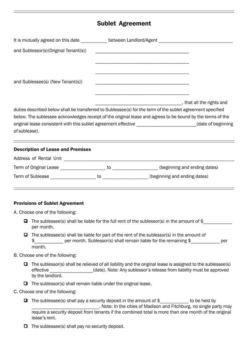 Wisconsin SubLease Agreement Template