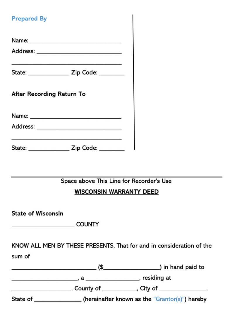 Wisconsin Warranty Deed Form