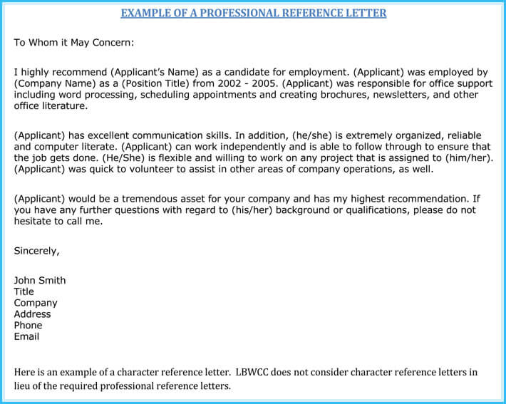 Simple Work Reference Letter Format