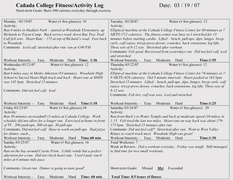 Free Printable Workout Logs