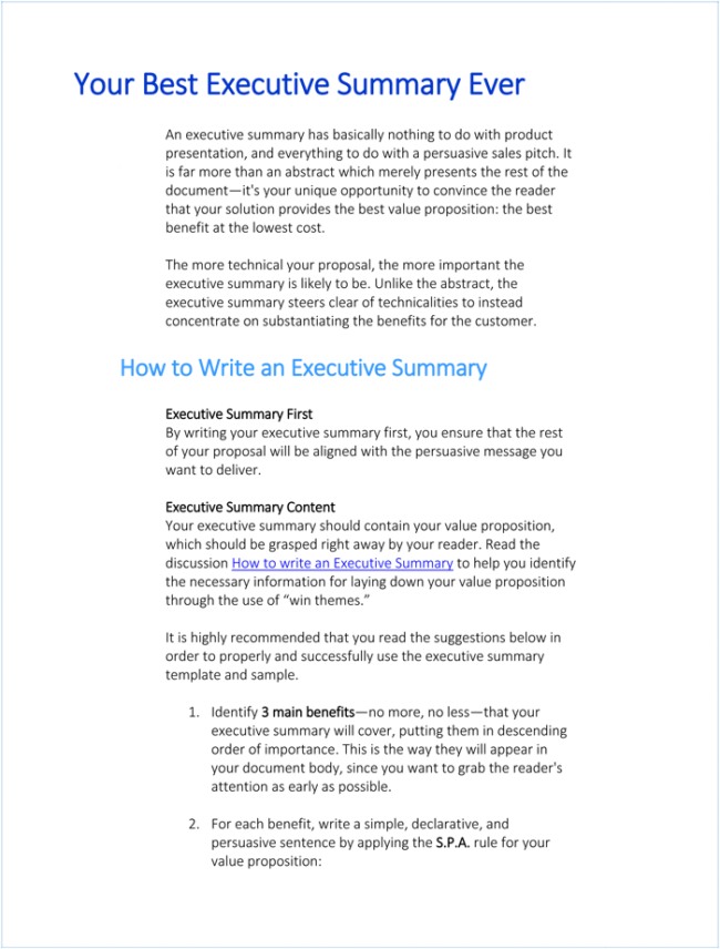 Writing Executive Summary Template,  Example Of Good Executive Summary