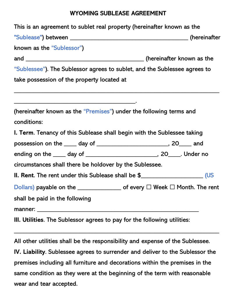 Wyoming SubLease Agreement Template