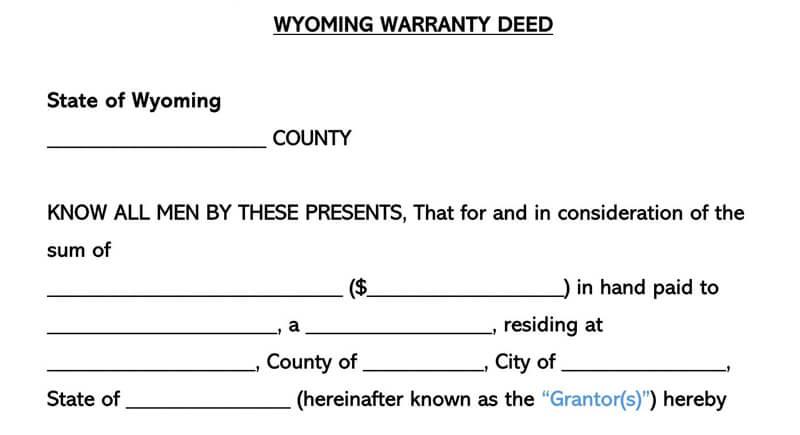 Wyoming Warranty Deed Form