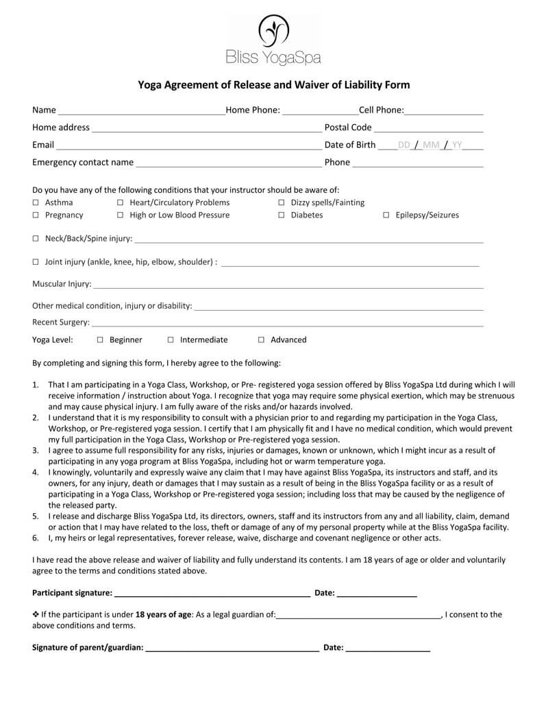Yoga Liability Waiver Form