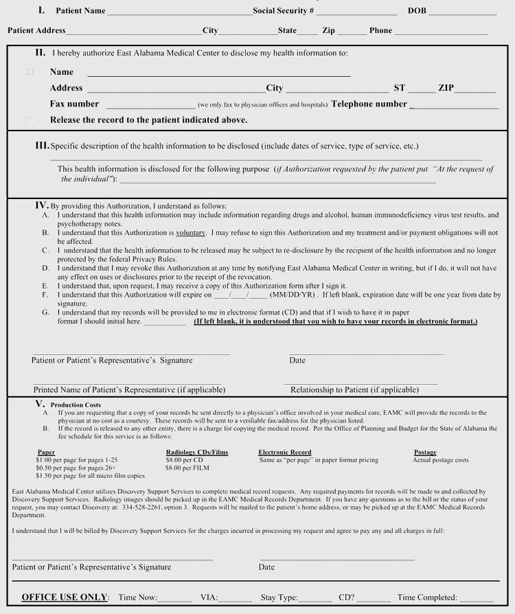 Alabama Patient Authorization Disclosure Sample