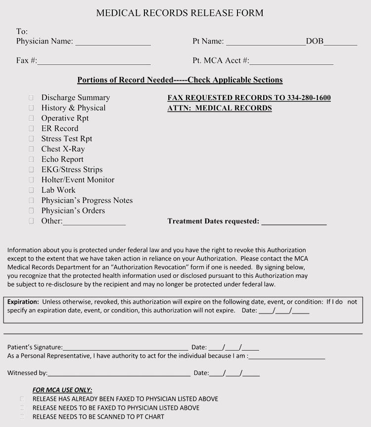 Alabama Medical Records Release Form